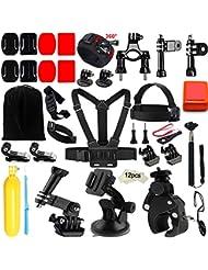 Iextreme Zubehör, 45-in-1 Zubehör für GoPro Hero 5/4/3+/3/2/1, Sportwagen-Kamera mit Accessories Kit with Lenker/Sitzrohr/Stangenhalterung + Gurthalterung für belüftete Helme + Überrollbügel-Halterung