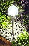 4er Set Garten Leuchten XL Edelstahl Solar Garten Beleuchtung Kugel Crackle Glas | hochwertige Solar Lampe aus Glas und Edelstahl | 56 cm hoch, 12 cm Durchmesser | mit strahlender weißer LED | für Garten Terrasse oder Balkon als Akzentbeleuchtung (Solar Akku 800 mAh)