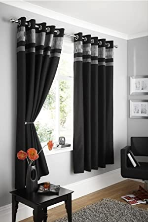 Kitchen Curtains black and silver kitchen curtains : Luxury Black & Silver Pleated Pintuck Eyelet Ring Top Curtains ...