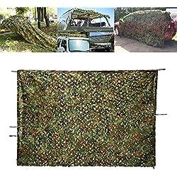 Filet de Camouflage 2 x 3 M, OUTERDO Filet Camouflage Woodland Couverture Camouflage Filet Net Camouflage Feuilles Militaire pour Camping / Chasse / Wargame Désert Jungle Activités en Plein Air (No.1)
