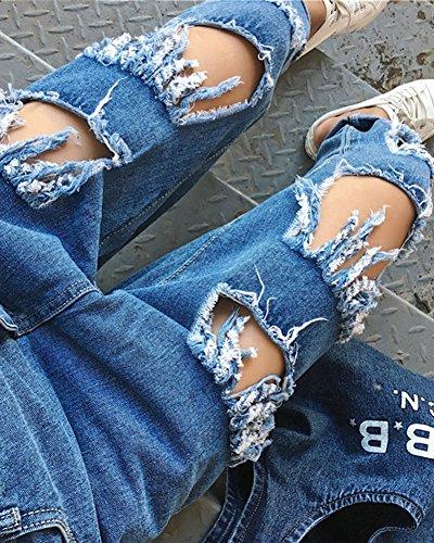 Donne Casual Vita Alta Jeans Pantaloni Distrutti Denim Baggy Jeans Blu