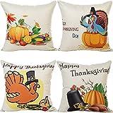 4x Happy Thanksgiving stile cotone lino copertura del cuscino quadrato
