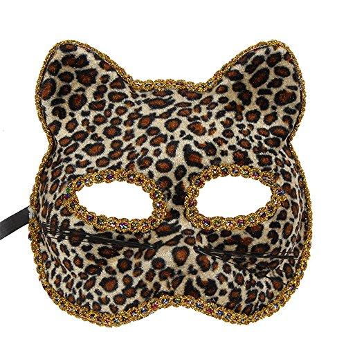 ,Venedig Maske Weihnachten Halloween Maske Katze Gesicht gemalt Maske Leopardenmuster Masquerade ()