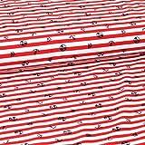 Bi-elastischer Sport Jersey [Badelycra] - Maritim auf Streifen rot/weiß