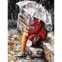 Chica esperando en el paraguas sin marco de bricolaje pintura por números de pintura al óleo decoración