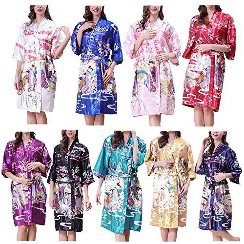 Haodasi Girls Women Lightweight Kimono Robe Printed Satin Silk Breathable Ladies Nightwear Bathrobe Dressing Gown Pajamas Nightdress Sleepwear