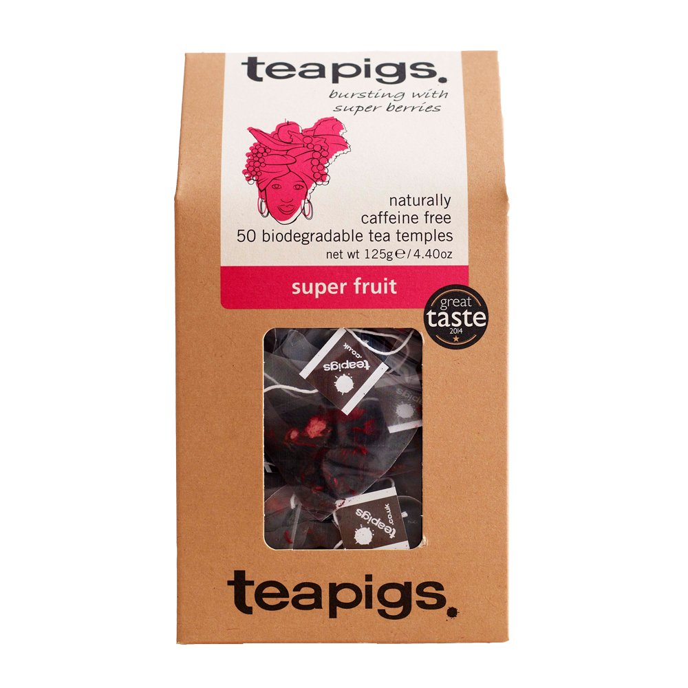 Teapigs super fruit tea (infusions) (50 bags) (a fruity tea with aromas of blackcurrant, blueberry, cranberry, elderberry, hibiscus) (brews in 3 minutes)
