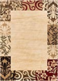 Verdant Vines Beige Modern Damask Border Rug 240 x 300 cm Casual Oriental Easy Clean Stain Fade Resistant Shed Free Contemporary Floral Formal Gradient Soft Living Dining Room Rug