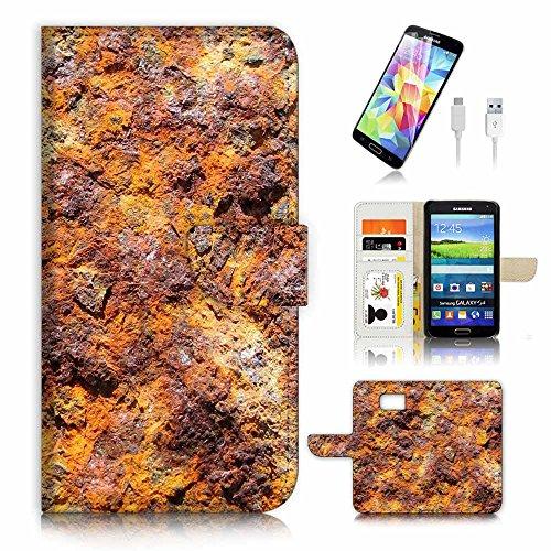 (für Samsung S7Edge) Flip Wallet Case Cover & Displayschutzfolie & Ladekabel Bundle. A3361Eisen Mineral - Mineral Eisen