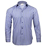 Captain Slim Fit Herren Hemden (in 24 Langarm-Hemd 100% Baumwolle (L, Blau (kariert))