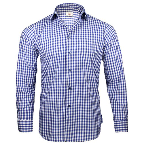 Captain Slim Fit Herren Hemden (in 24 Langarm-Hemd 100% Baumwolle (M, Blau (kariert))