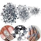 3D-Nagelkunst, Maniküren-Box,mit 3000 durchsichtigen, farbigen Strasskristallen und Edelsteinen, Juwelen-Dekorationen in 3 verschiedenen Größen
