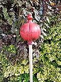 Große Gartenkugel aus Keramik - rot 25x16 cm - Rosenkugel - Gartenstecker - Shabby