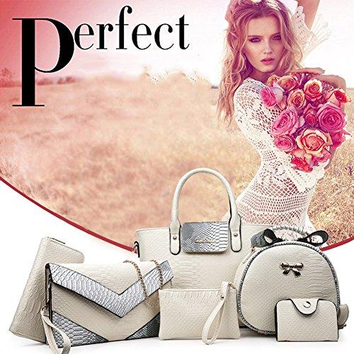 (G-AVERIL) pelle Donna Borsa Handbag borsa a Spalla Borse a mano Tote Bag Shoulder Bag con Mutil tasche grigio