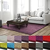 casa pura Shaggy Teppich Barcelona | weicher Hochflor Teppich für Wohnzimmer, Schlafzimmer, Kinderzimmer | GUT-Siegel & Blauer Engel Größen | 200x200 cm | Flieder