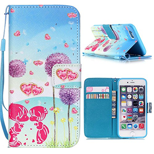 "Case For Iphone 6 Plus (5.5"") PU Leather Wallet Case, Luxuxy Flip Case Cover Holster Shell With Stand function and Soft TPU Inner Back cover Skin for Iphone 6s Plus Dandelion Love"