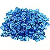 Dosige 600pcs Knopf Harz Bastelknöpfe DIY Knöpfe für Nähen Handwerk Scrapbooking Deko Handgefertigte Verzierung (Blau Serie)