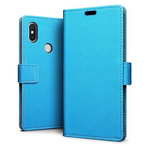 SLEO Hülle für Xiaomi Redmi S2 Hülle,PU lederhülle [Vollständigen Schutz] [Kreditkartenfach] Flip Brieftasche Schutzhülle im Bookstyle für Xiaomi Redmi S2- Blau