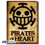One Piece - 3D Blechschild - Pirates of Heart - Trafargar Logo - 38 x 28 cm