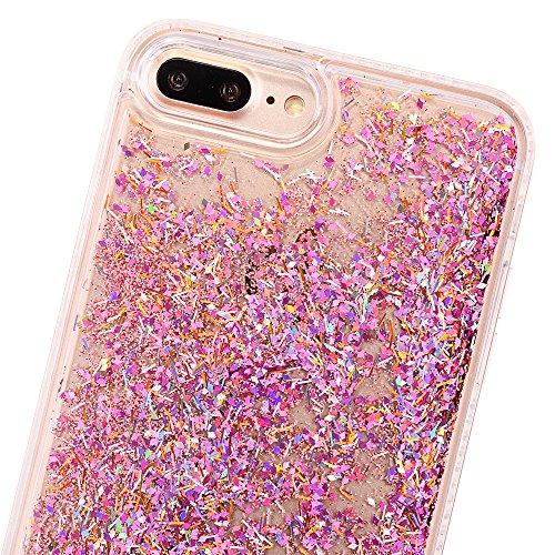 iPhone 8Plus Hülle, CLTPY iPhone 8Plus Handytasche Hybrid Silikon Strass Bumper + Hart Back Case Transparent Fließen Flüssig Schale mit Sparkle Glitzer Treibsand für Apple iPhone 7Plus/8Plus + 1 x Sti Rosa