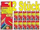 12er Sparpack Herlitz 12 Packungen Dreikantbuntstifte lackiert/10412021 Inh.12 (12x 12er Set)