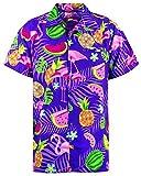 Funky Hawaiihemd, Kurzarm, Flamingos Melonen, Violett, M