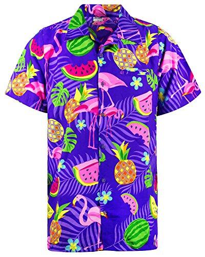 King Kameha Funky Hawaiihemd, Kurzarm, Flamingos Melonen, Violett, S