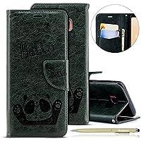 Herbests Handytasche für Samsung Galaxy S8 Plus Lederhülle Niedlich 3D Panda Muster Flip Case Cover Hülle Leder Klapphülle Leder Tasche im Bookstyle Handyhülle Brieftasche Schutzhülle,Dunkelgrün