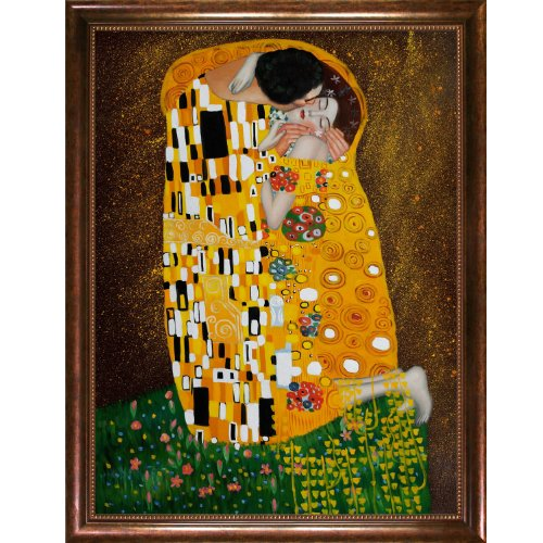 overstockart-klimt-the-kiss-painting-with-verona-cafe-coffee-brown-patina-finish-and-bead-detail