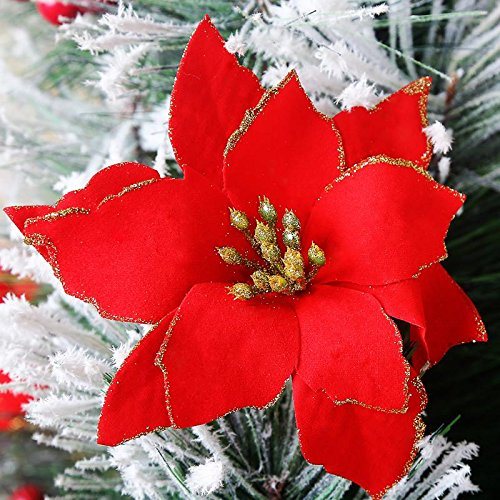 WLM Artificial Flowers 6Pcs 5 Inch WLM for Wedding Christmas Festival Decor Ornament (Red)