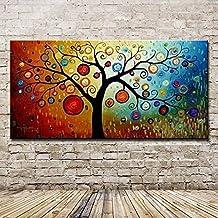 XIAOXINYUAN Pintura Al Óleo Pintada A Mano 100% Árbol De La Vida Colorida Imagen De