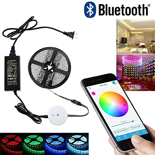 Topled Light®16.4ft / 5M multi colore RGB Bluetooth Smartphone App controllata Kit striscia di luce, funziona con iPhone, Android, Windows e Kit Amazon Fuoco Phone & Tablet Sistema di illuminazione d'accento (5M RGB)