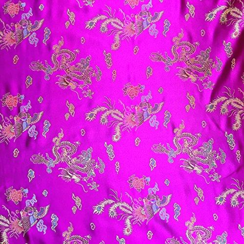 Fushia Pink 114,3cm breit geflochten Chinesischer Drache Brokat Kleid Stoff-Meterware -