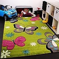 Tappeto Bambina Per Stanza Bambini Con Farfalla Fiori Verde Rosa Fuchsia Grigio , Dimensione:140x200 cm