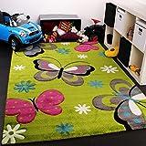 Kinder Teppich Schmetterling Design Grün Creme Rot Pink, Grösse:140x200 cm