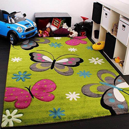 Paco Home Tappeto Bambina per Stanza Bambini con Farfalla Fiori Verde Rosa Fuchsia Grigio, Dimensione:80x150 cm
