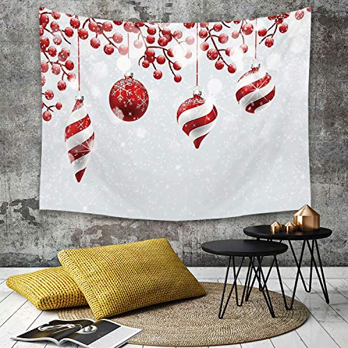 Tapestry, Wall Hanging, Weihnachten, traditionelle Dekoration Icons Holly Berry Zweige mit Schnee und Bokeh-Eff,wall hanging wall decor, Bed Sheet, Comforter Picnic Beach Sheet home décor 180 x 230 cm - Traditionelle Holly