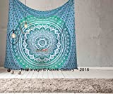 Tapestry Queen Green Ombre Hippie tapestries Mandala Bohemian Psychedelic Intricate Indian Bedspread 92x82 Inches Aakriti Gallery