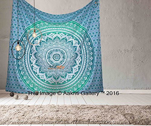 Tapestry Queen Ombre Hippie tapestries Mandala Bohemian Psychedelic Intricate Indian Bedspread 92x82 Inches Aakriti Gallery (Green) (Tie-dye-bleach)