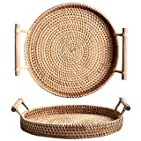 Bandeja de té tejida redonda de la cesta del pan de la rota con las manijas para...