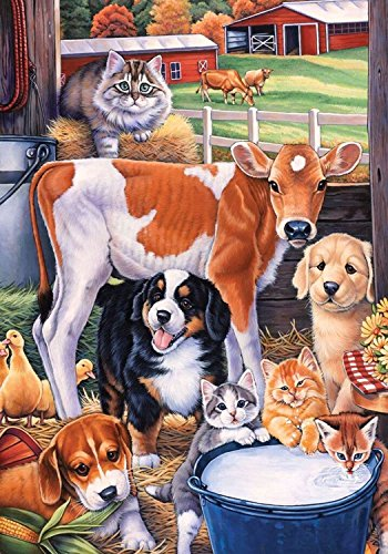 CHKWYN Animals in The Barn Spring House Flag Cats Dogs Cows Horse for Party Outdoor Home Decor Size: 28-inches W X 40-inches H -