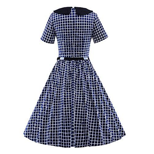 LUOUSE Femme Robe Rétro 'Audrey Hepburn' 50's 60's Rockabilly Swing Eté Robe de Soirée, Classique Plaid Style, Short Sleeves Bleu