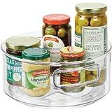 mDesign plateau de rangement lazy susan – plateau tournant pour aliments – rangement cuisine pour épices en plastique – trans