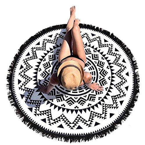 Doublehero Platz Strandtuch Vintage Bedruckte Decken Quaste Übergröße Bikini Badematte Mandala Hippie/Indisch Rundes/Retro Boho Runder Yoga Matte Tuch Meditation/Tischdecke 150 * 150cm (Schwarz) -