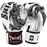 Twins Boxhandschuhe, Flying Dragon, FBGV-49, weiß-Schwarz Größe 12 oz