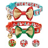 Blueberry Pet Pack of 2 Cat Collars, The Power of Lavish Holiday Perfect Snowman Adjustable Breakaway Cat Collar with Bow Tie & Bell, Neck 23cm-33cm
