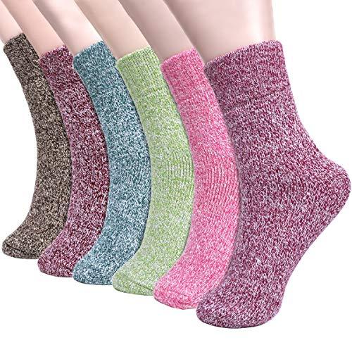 Emooqi Verdickte Damen Socken, 6 Paare Stricken Warme Socken Bunte Wollsocken Premium Qualität Comfort Damen Winter Socken,Verdicken,1 Paar Socken Wiegt 75g,für Frauen Damen Geschenk EU35-42 -
