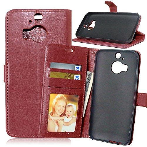Nancen Compatible with Handyhülle HTC One M9 Plus (5,2 Zoll) Lederhülle Style Acht Farbe Weich PU Flip Case Ledertasche/Schutz Etui, Karten Slot Foto Wallet Hülle Dual-view-case