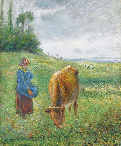 Das Museum Outlet – Shepherdess mit eine Kuh, Côte des grouettes, Pontoise, 1882, gespannte Leinwand Galerie verpackt. 40,6 x 50,8 cm (Metall-kuh-wand-kunst)