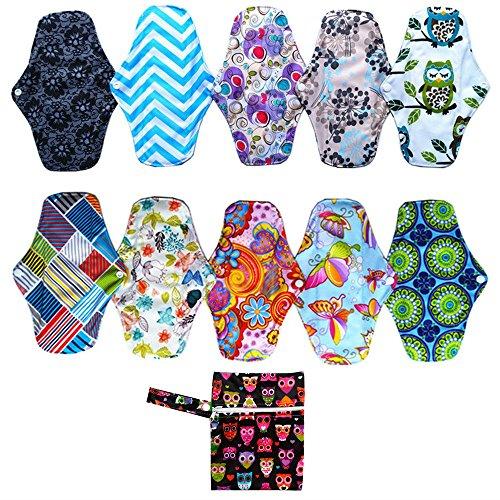 10pcs 25,4 cm Bambus Tuch wiederverwendbar waschbar Pads Sanitär Menstruationstasse + 1 Mini Wet Tasche